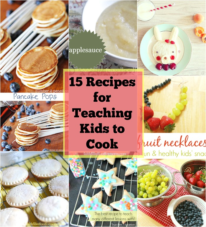 Over 15 FUN Easy recipes for teaching kids to cook! Get your kids inspired to cook in the kitchen! Teach them that Cooking is fun! Help them to decide what to cook for dinner, lunch or snacks! Most of these recipes only take a few short minutes to prep and few to make! #kids #easyrecipe #cook