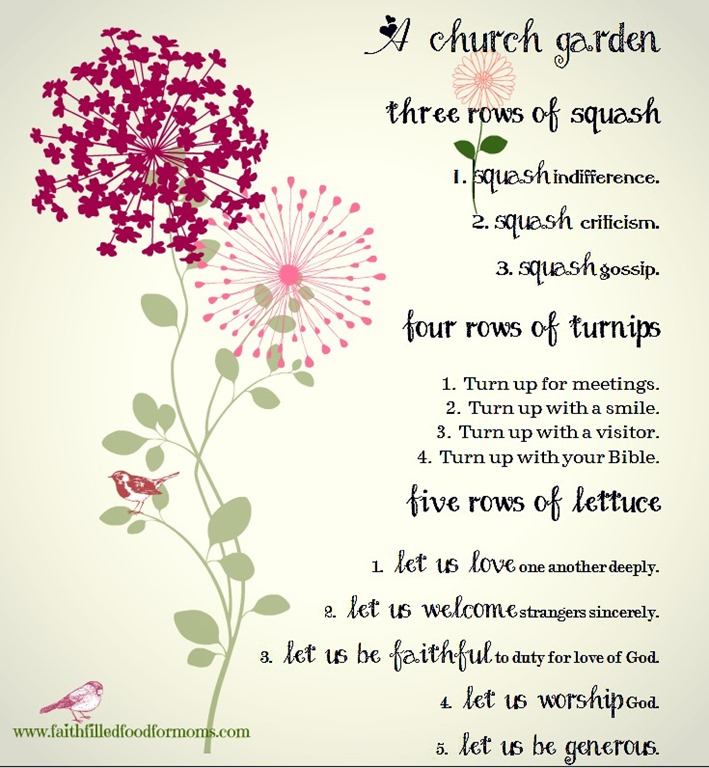 A Church Garden–Free Printable • Faith Filled Food for Moms