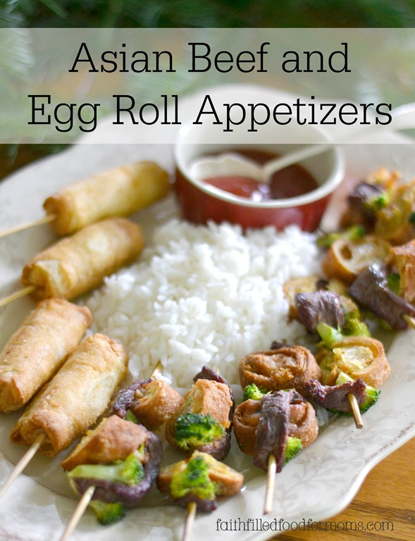 Asian Beef and Egg Rolls on a stick!