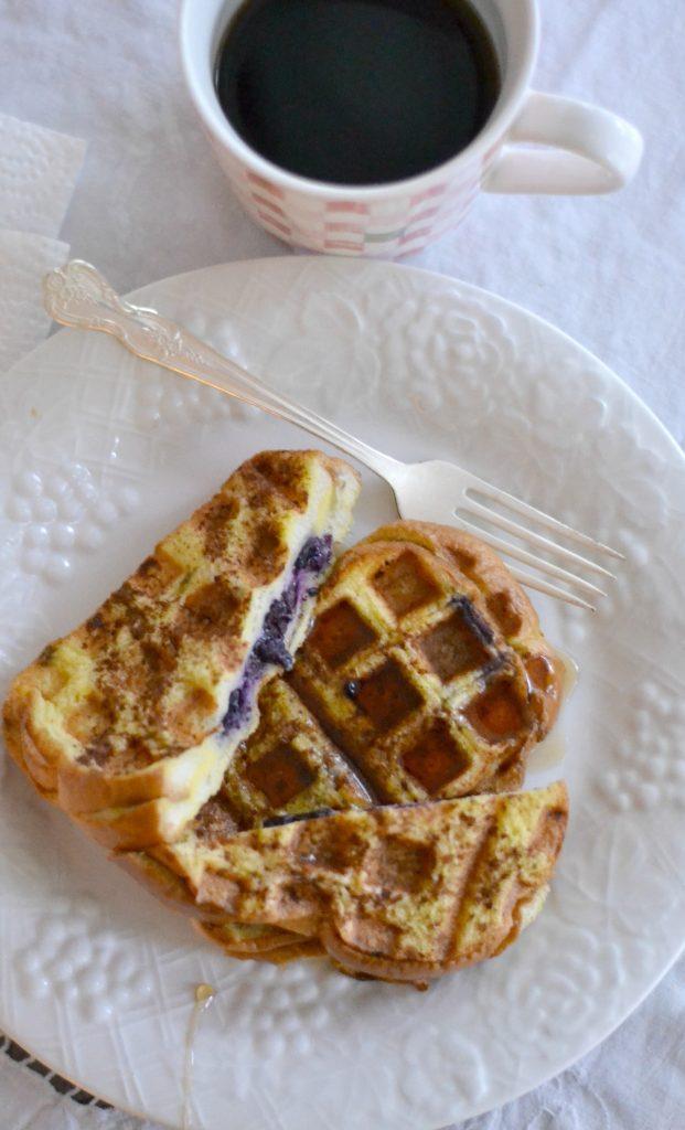 Blueberry Stuffed French Toast Waffles