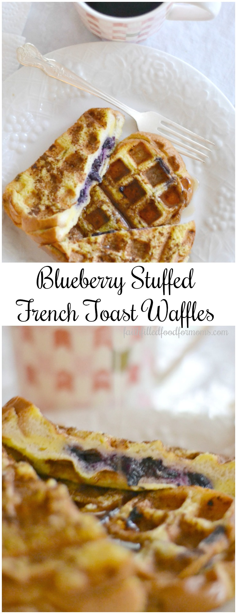 These easy unique Blueberry Stuffed French toast waffles are simply heavenly! With a touch of Vanilla and Cinnamon these are the Best you'll ever taste! You can also make a ton of them and freeze for later! #frenchtoast #waffles #recipe