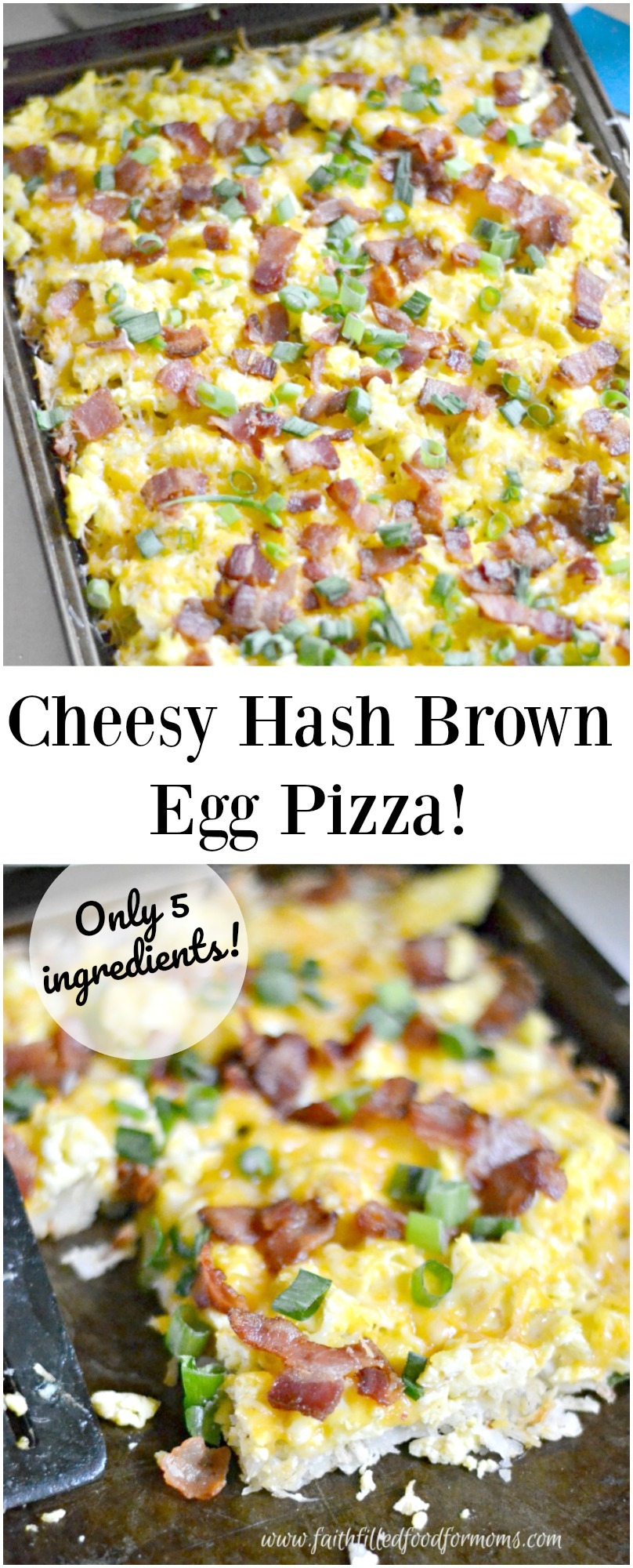 Easy Cheesy Hash Brown and Egg Breakfast Pizza! Such an easy meal and so good for you! Our family loves this easy breakfast pizza. With only 5 ingredients you can have this whipped up from everyday foods you have in your cupboard. Can also be made ahead and frozen in individual portions! YAY!