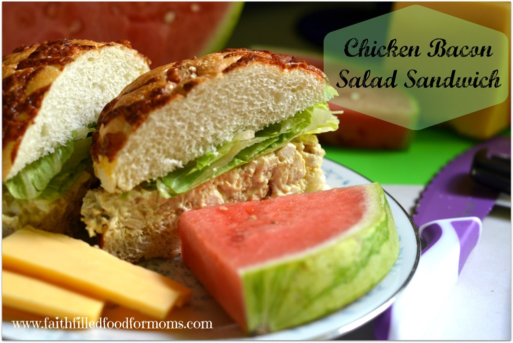 Chicken Bacon Salad Sandwich on Cheese Bread
