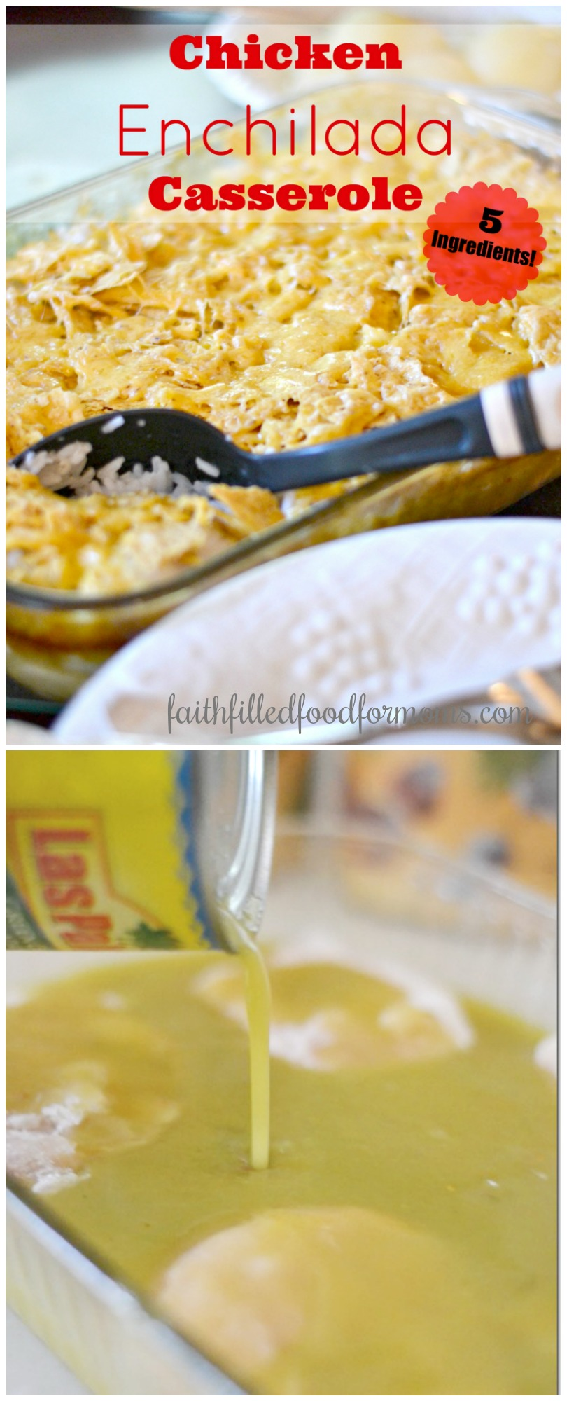 Chicken Enchilada Casserole made with frozen chicken breasts, lots of cheese and only 5 ingredients! A super easy, healthy and quick recipe you bake in the oven! This is perfect for your meal plans and can be frozen for later too! #enchiladas #chickendinner #chickenrecipes #casserole #faithfilledfoodformoms