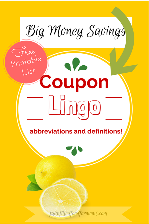 This Coupon Lingo, Abbreviations and Definitions with printable is perfect for beginners and will help you get started. Coupons can literally save you tons of money and are the perfect addition for keeping you grocery budget on track, I can show you how! No you don't have to be an extreme coupon-er to enjoy great savings! #coupon #budget #printable #freeprintable