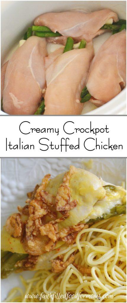 Creamy Crockpot Italian Stuffed Chicken in a Slow Cooker