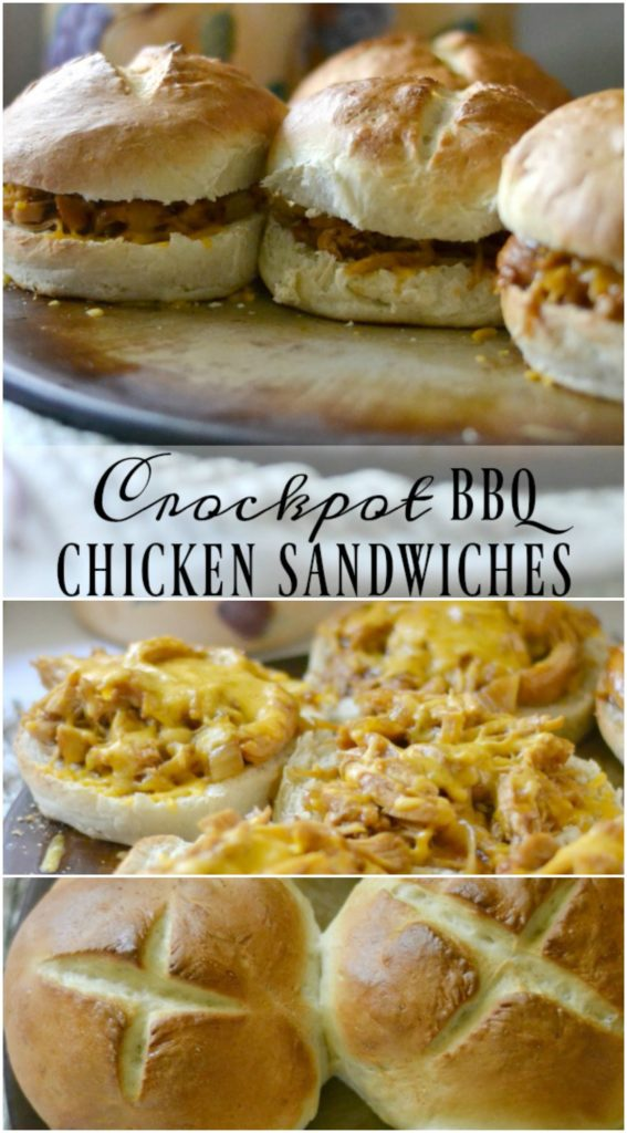Crockpot BBQ Chicken Sandwiches with homemade Kaiser Rolls - So inexpensive and deelish!