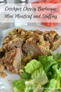 Crockpot Cheesy Barbecue Mini Meatloaf and Stuffing