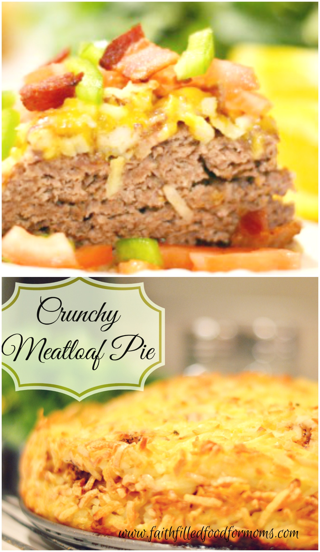 Crunchy Meatloaf Pie is a delicious twist on the old! Crunchy hash browns enveloping a moist yummy meatloaf and topped with bacon, tomatoes and green onion!