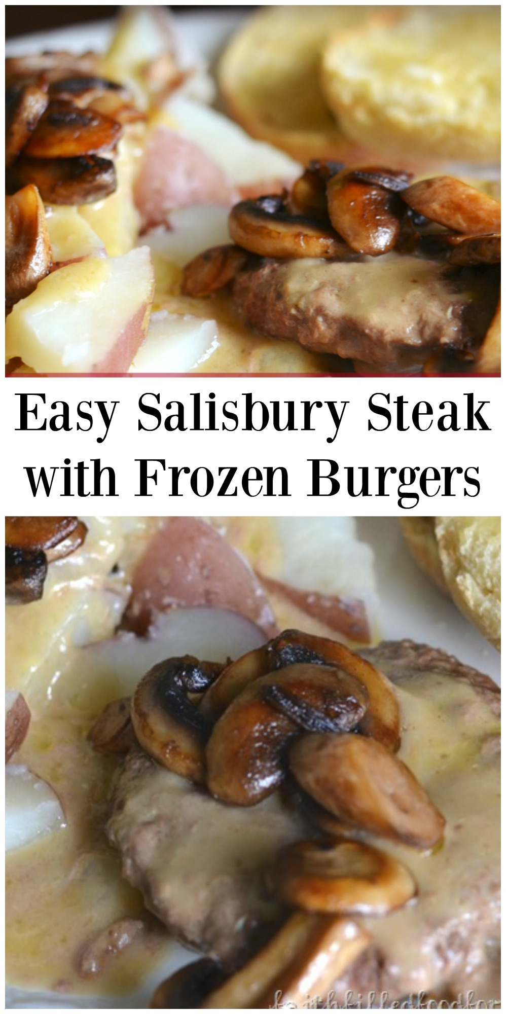 This easy Salisbury Steak made with frozen burgers is SO EASY and quick. It's also a very inexpensive and a family fave meal! #frozenburgerrecipe #easyrecipes