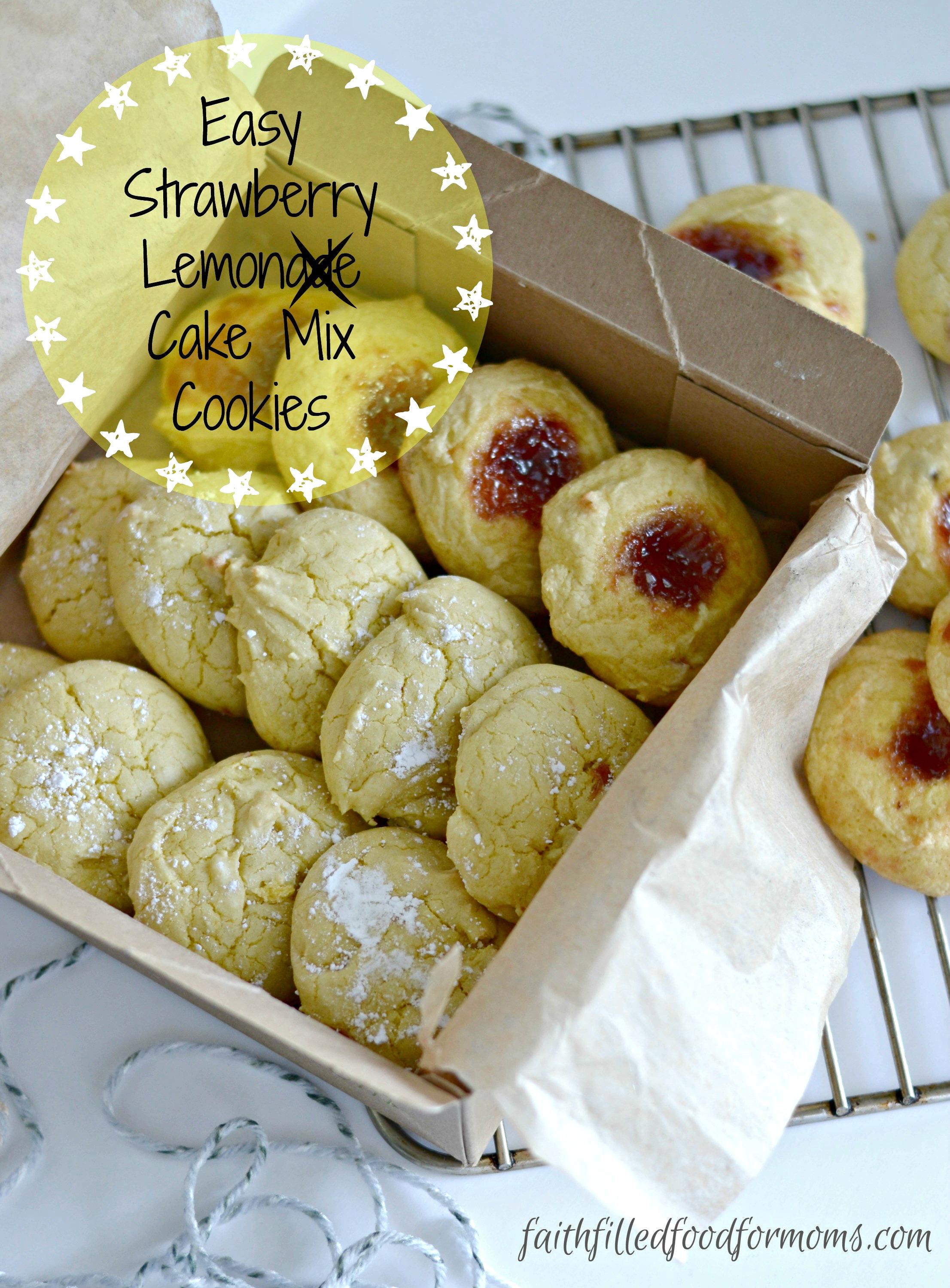 Easy Strawberry Lemon Cake Mix Cookies