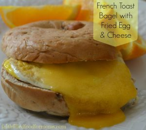 French Toast Bagel with Fried Egg and Cheese