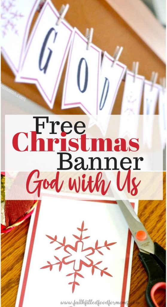 Emmanuel God with Us Printable Bible Verse Banner for Christmas