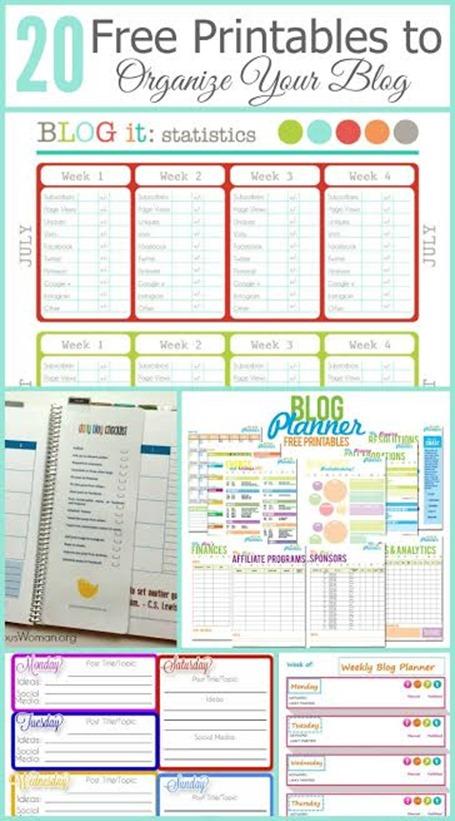 Free Printables to Organize Your Blog