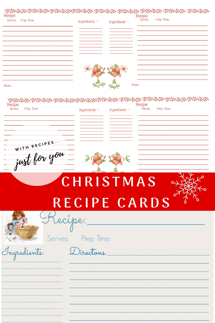 Printable Christmas Recipe Cards with cute birds and child helping in kitchen