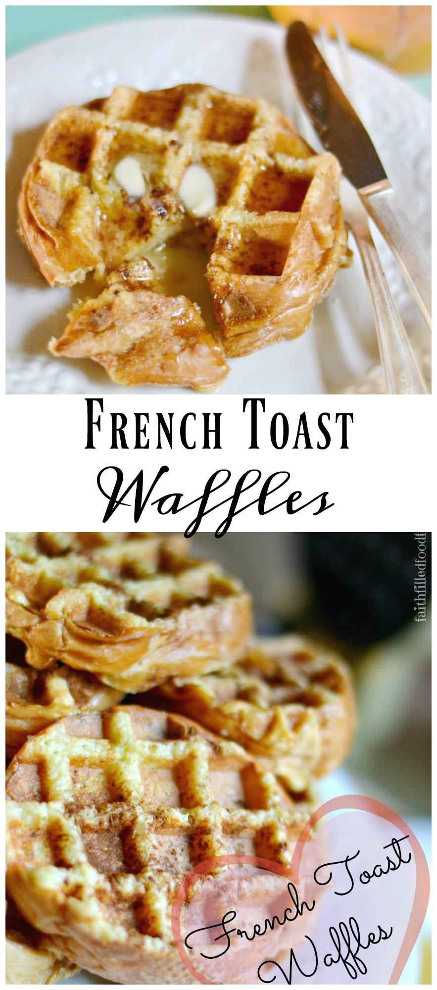A super easy fun and delicious breakfast recipe that combines the flavors of french toast and waffles. This is a great make ahead / prep ahead meal. Can be frozen!  #mealplanning #makeaheadmeal #freezermeal