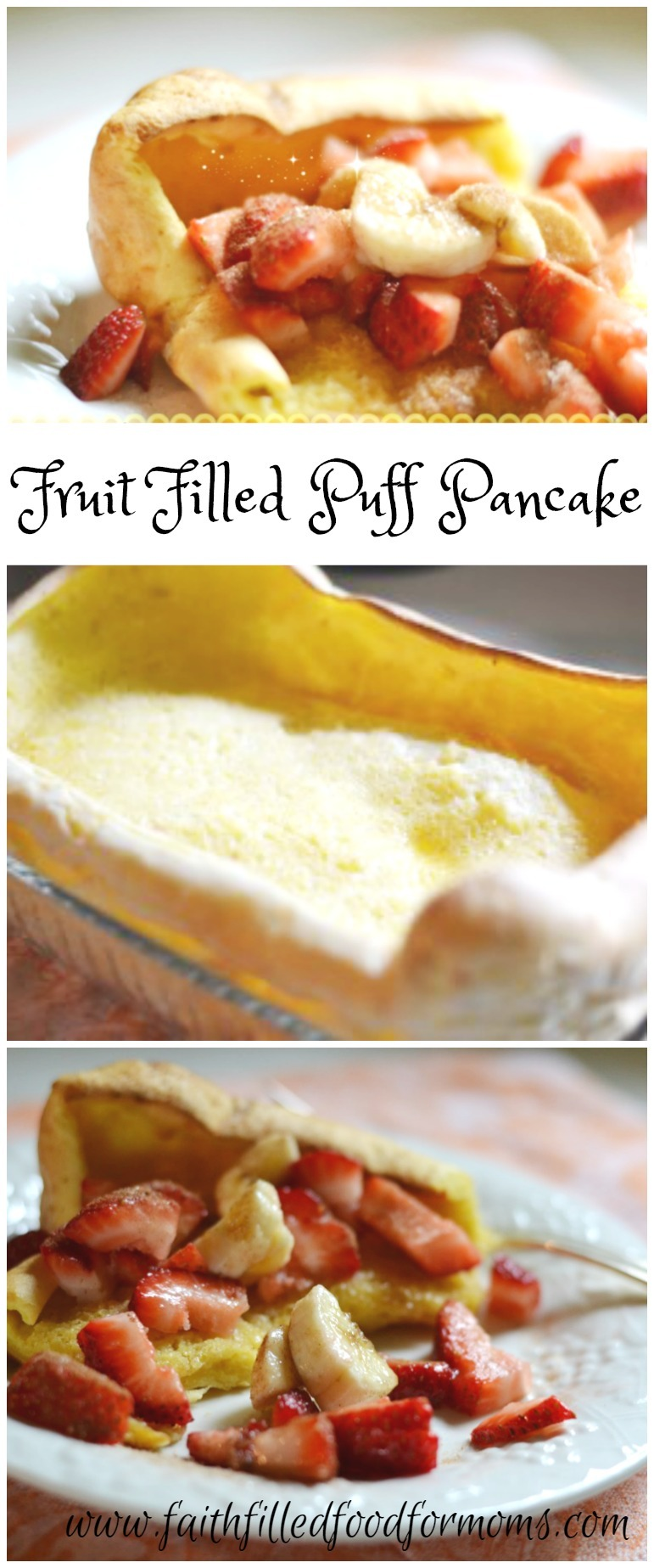 This fruit filled puff pancake is full of healthy ingredients! Made in minutes and cooked in 20! This is deelish! #pancakes #fruit #healthyrecipe