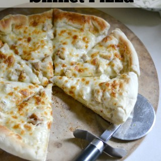A fresh easy homemade pizza dough recipe for this fun and crispy crust Garlic Chicken Skillet Pizza!