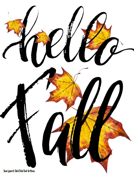 Hello Fall wall art with leaves