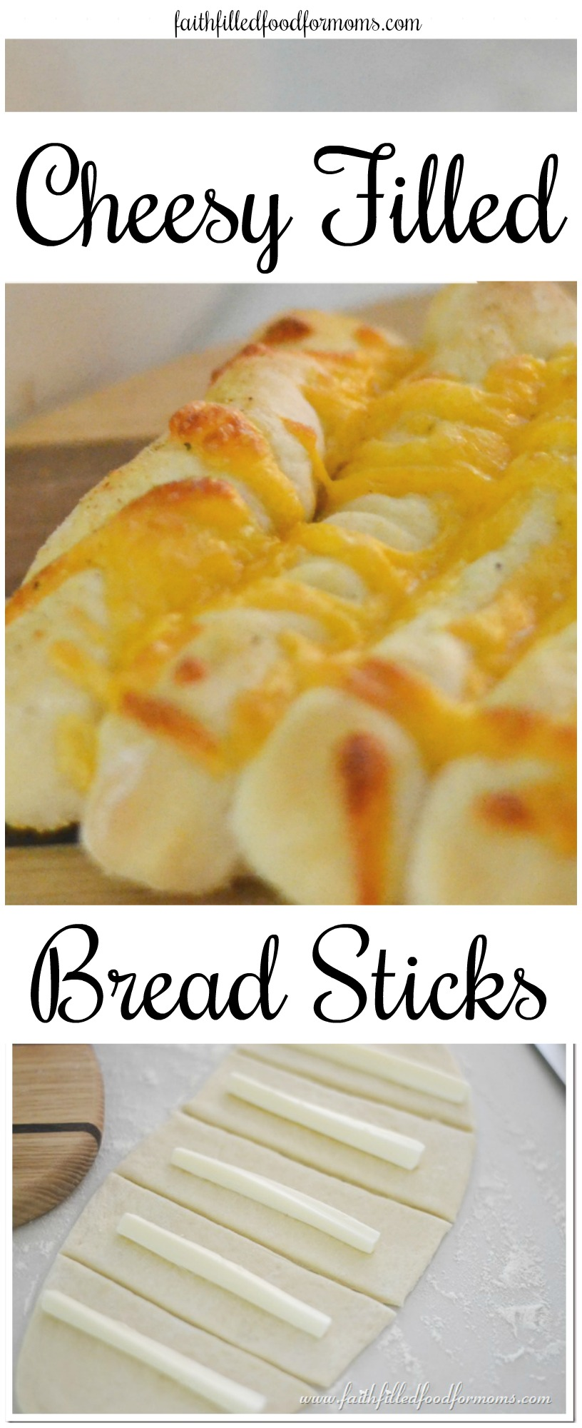 Homemade Cheese Filled Bread Sticks with homemade pizza bread dough! Easy recipe and delicious! #bread #cheese