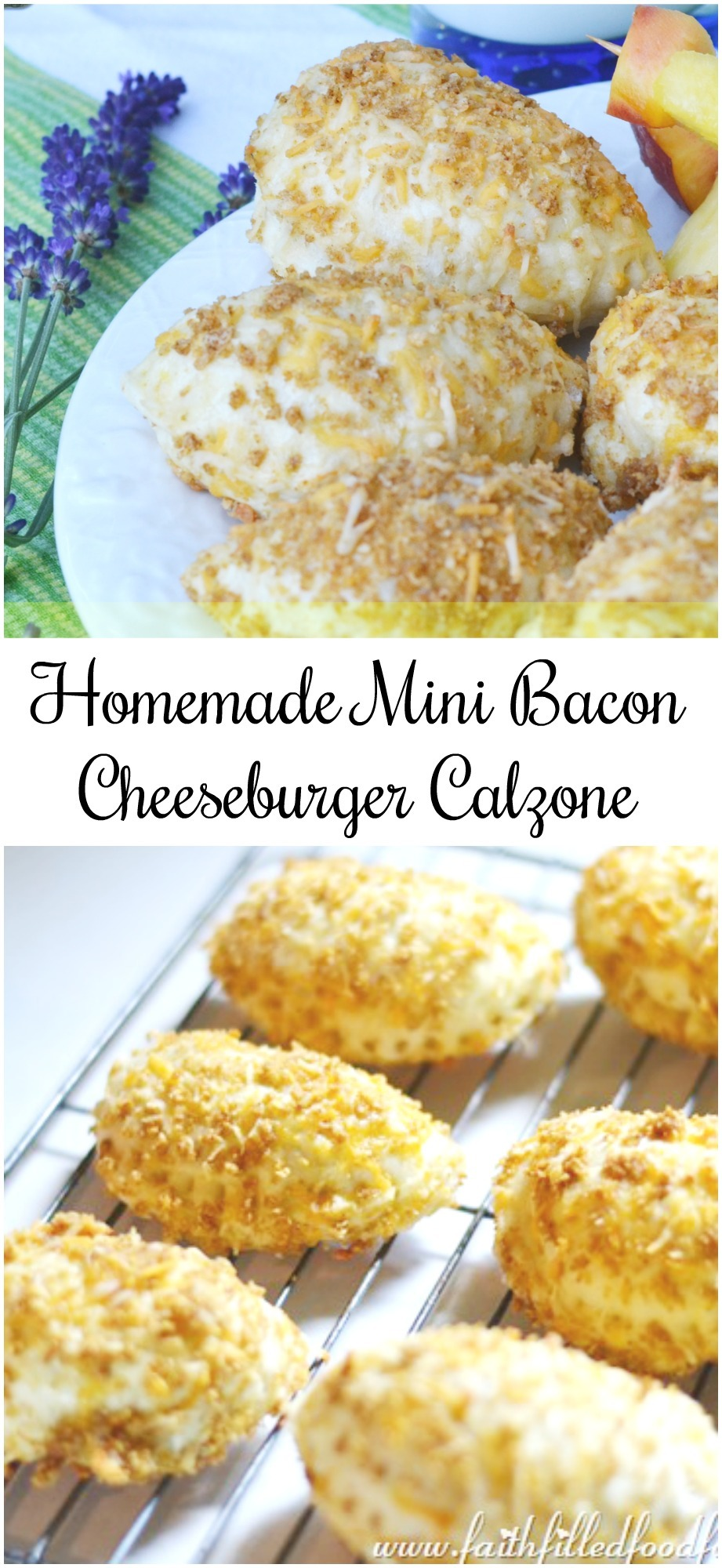 Homemade Mini Bacon Cheeseburger Calzone Hot Pocket Recipe! So easy to make with yummy insides and a crispy outside. Makes great freezer meals, they are more healthy too! #Homemade #freezermeals #makeahead #snacks #homemadebread