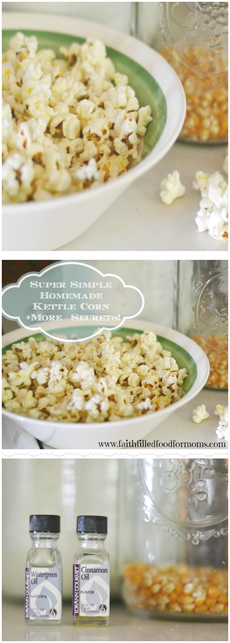 Switch up your popcorn and learn How to make Super Easy Homemade Kettle Corn with this recipe! You won't believe how amazing this stove top recipe is!  #snacks #homemade #faithfilledfoodformoms