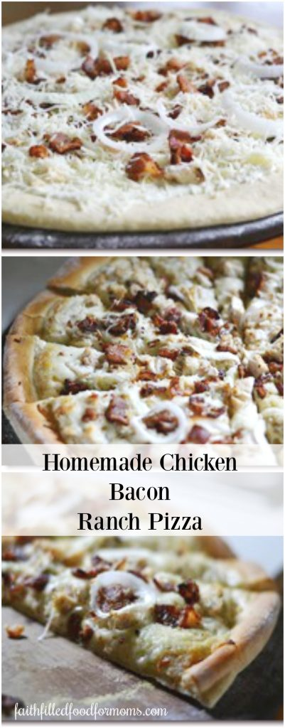 Homemade Chicken Bacon Ranch Pizza