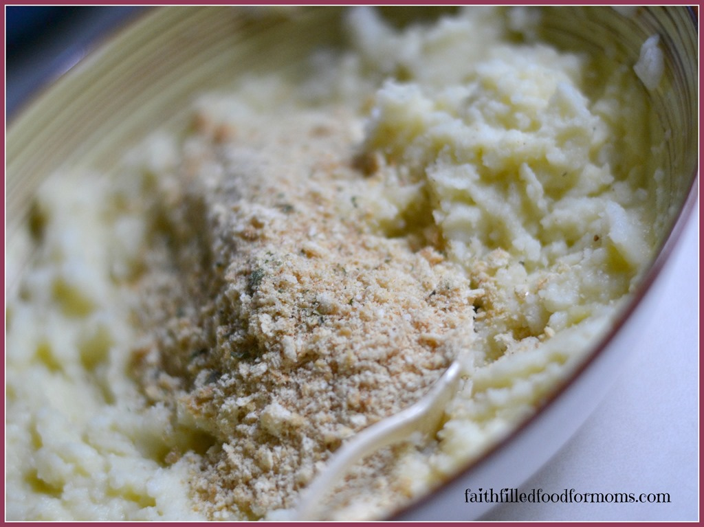 shows bread crumbs to be mixed into Mashed Potato for Pancakes