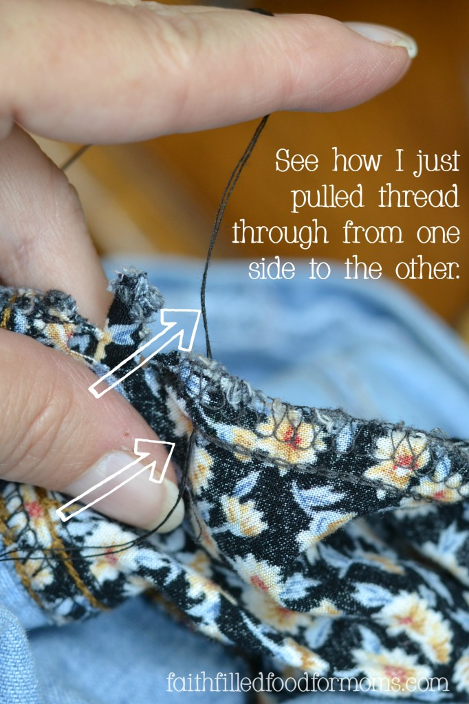 Mending a small hole in a dress
