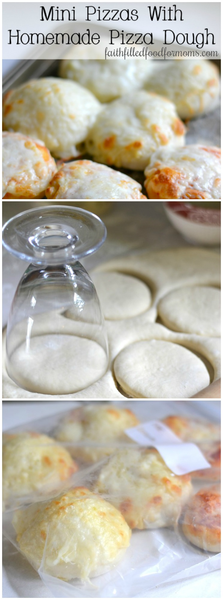 Mini Pizzas with homemade pizza dough. Make a bunch and freeze for later! Makes a great after school snack for kids! #pizzadough #pizza #freezermeal