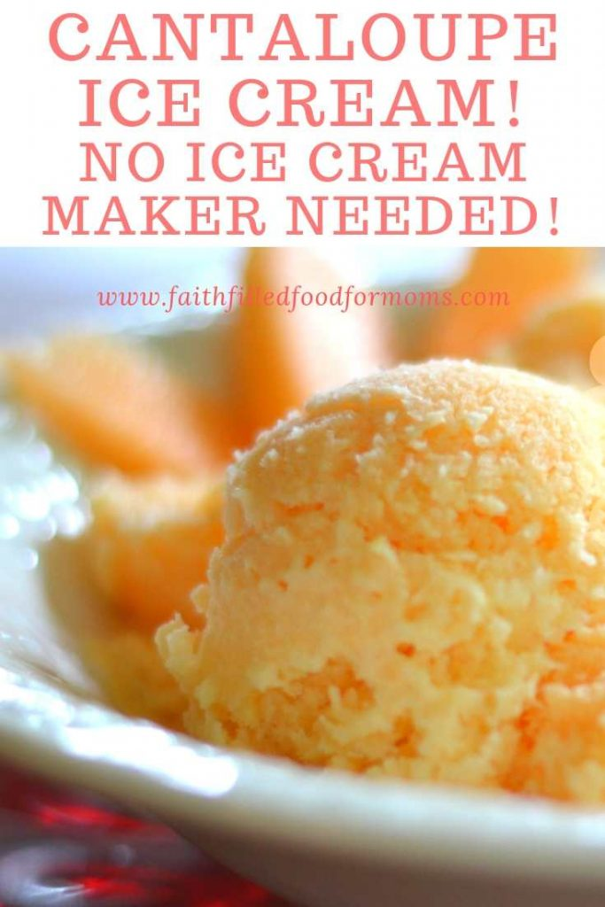 No Churn Cantaloupe Ice Cream