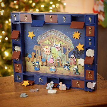 Nativity Advent wooden magnets