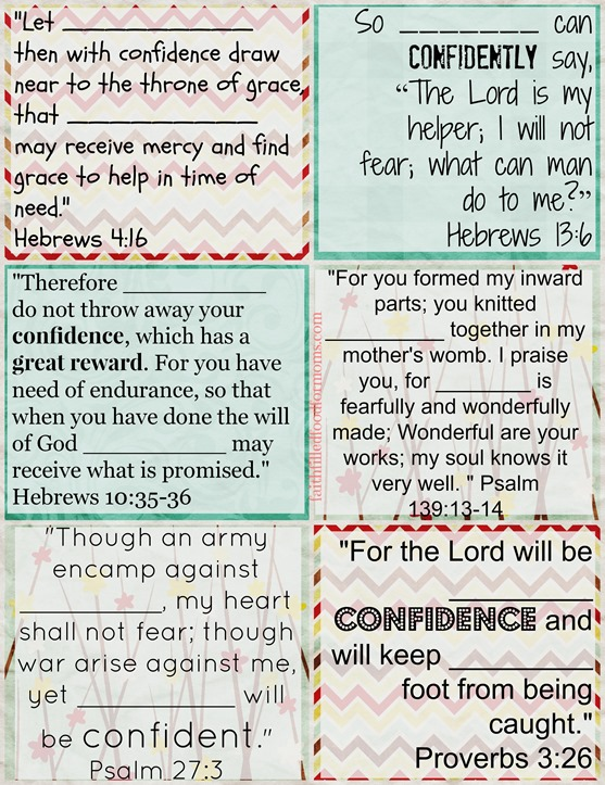 Printable Bible Verse Cards to Personalize on Confidence
