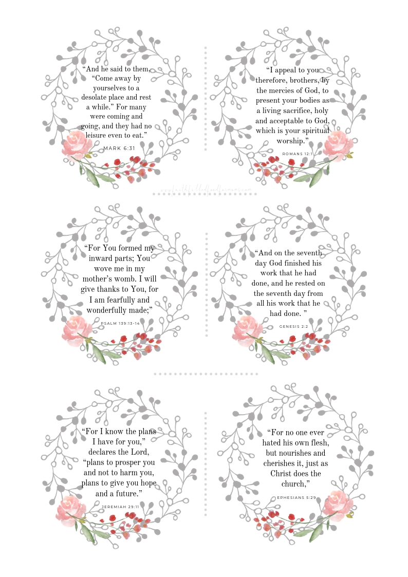 Free Printable Bible Verse about Self Care