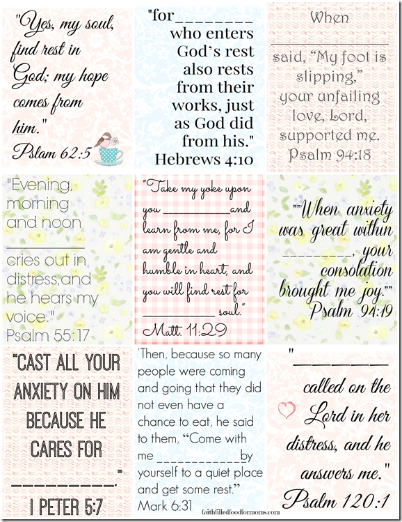 Printable Bible Verses to personalize - for finding rest