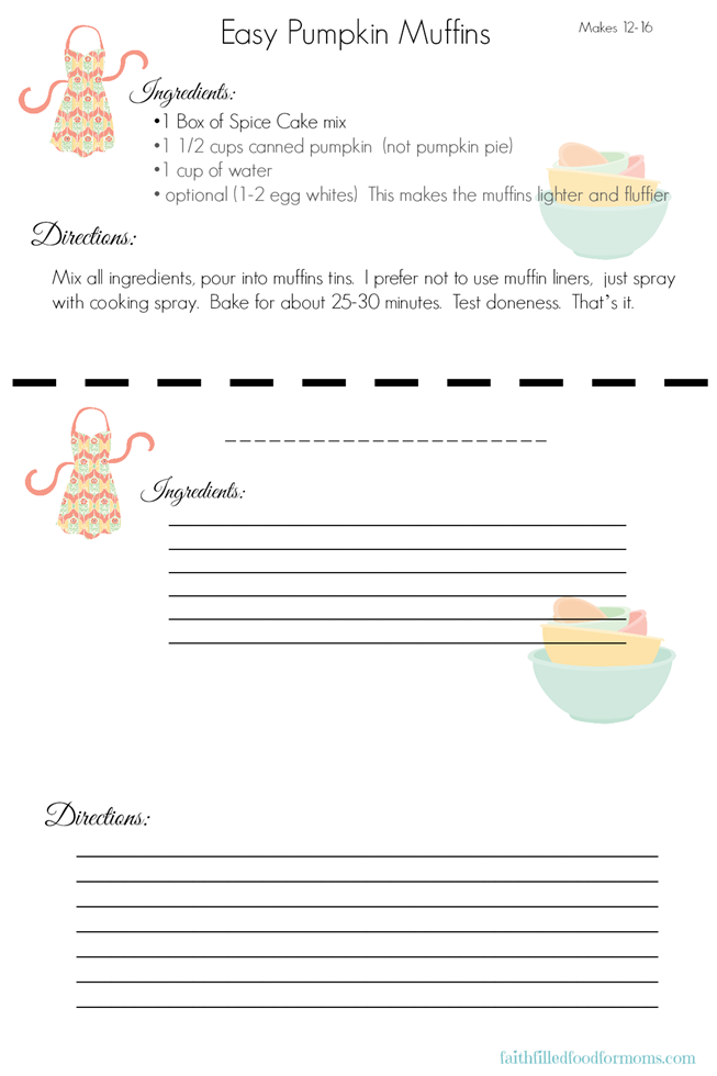 Pumpkin Muffin Recipe Card
