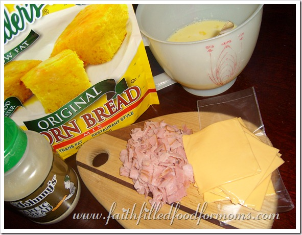 Cheesy Ham and Cornbread Casserole-Yummy Egg Dish