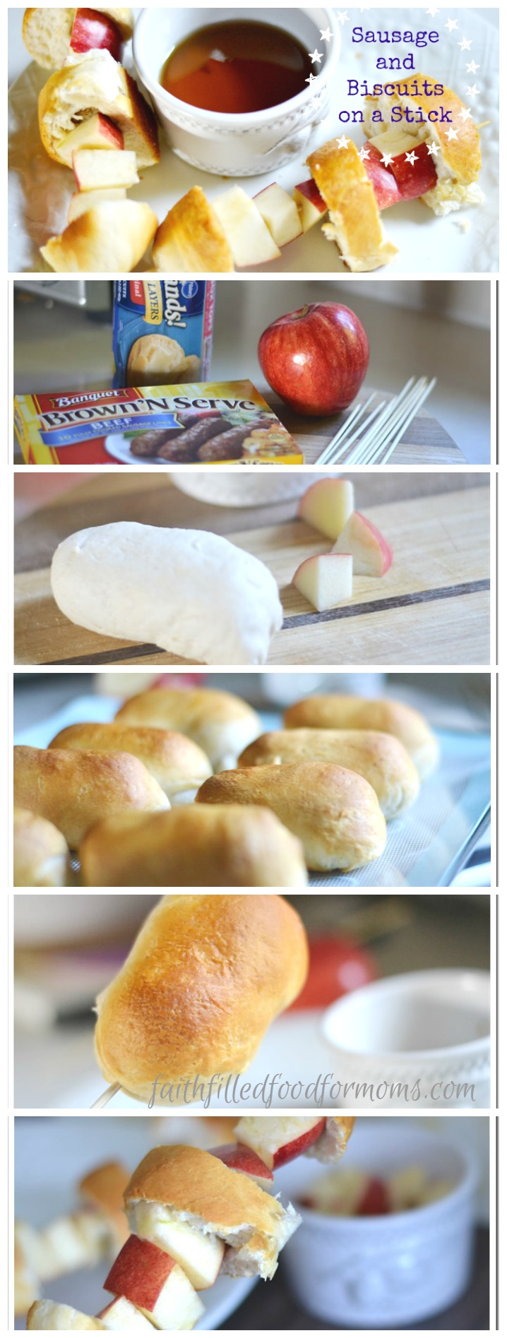 Sausage and Biscuits on a Stick. A super easy and fun for kids friendly breakfast, lunch or dinner! Use a dipping sauce or not. Kids love snack food on a stick! Make this for a quick on the go anytime food! #fingerfood #kids #snacks #snackattack