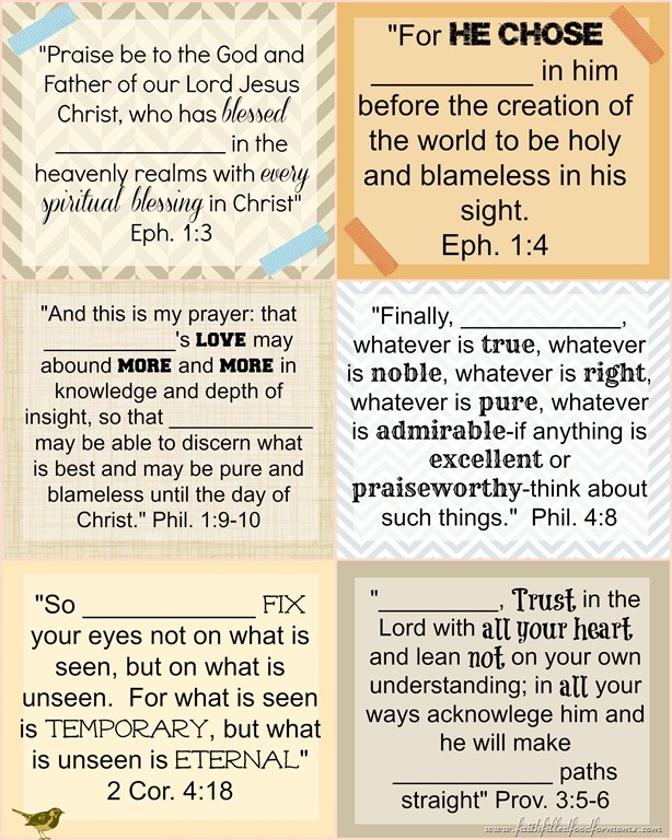 Printable Bible Verse Cards To Personalize