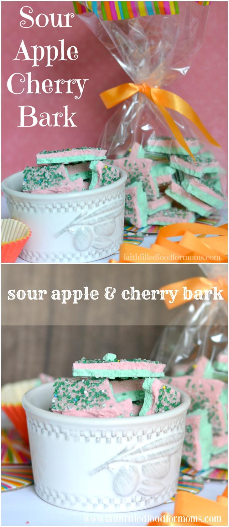 Sour Apple Cherry Candy Bark