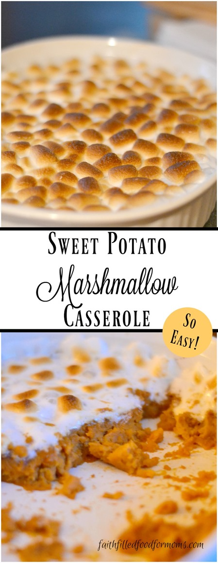 Sweet Potato and Marshmallow Casserole with orange juice