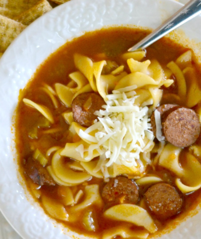 Sweet and Tangy Kielbasa Sausage Noodle Soup YUM