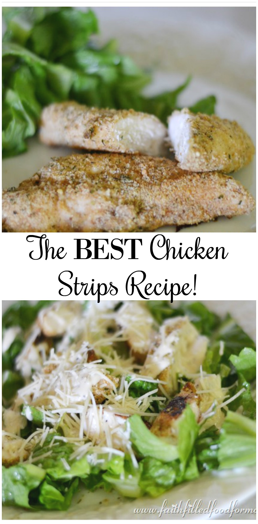 This is simply the BEST and easy homemade baked chicken strips recipe and can be changed up in so many ways! Much more healthy than store bought. Cut the pieces of chicken breast smaller and they become the best chicken nuggets recipe! #chicken #nuggets #strips