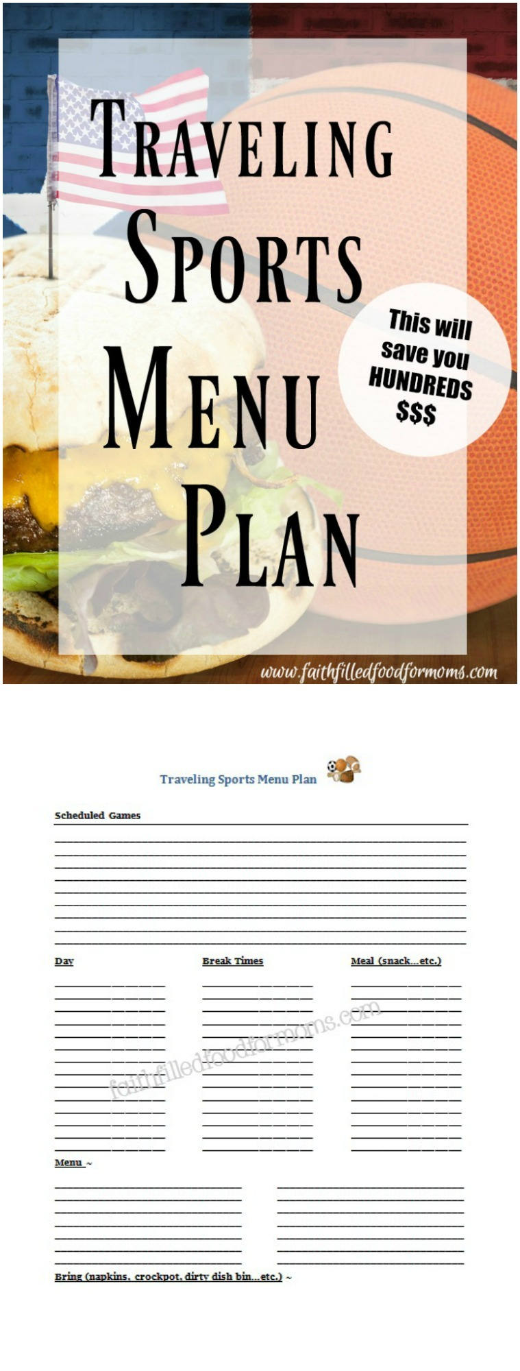Traveling Sports Menu Plan with free Printable Planner!