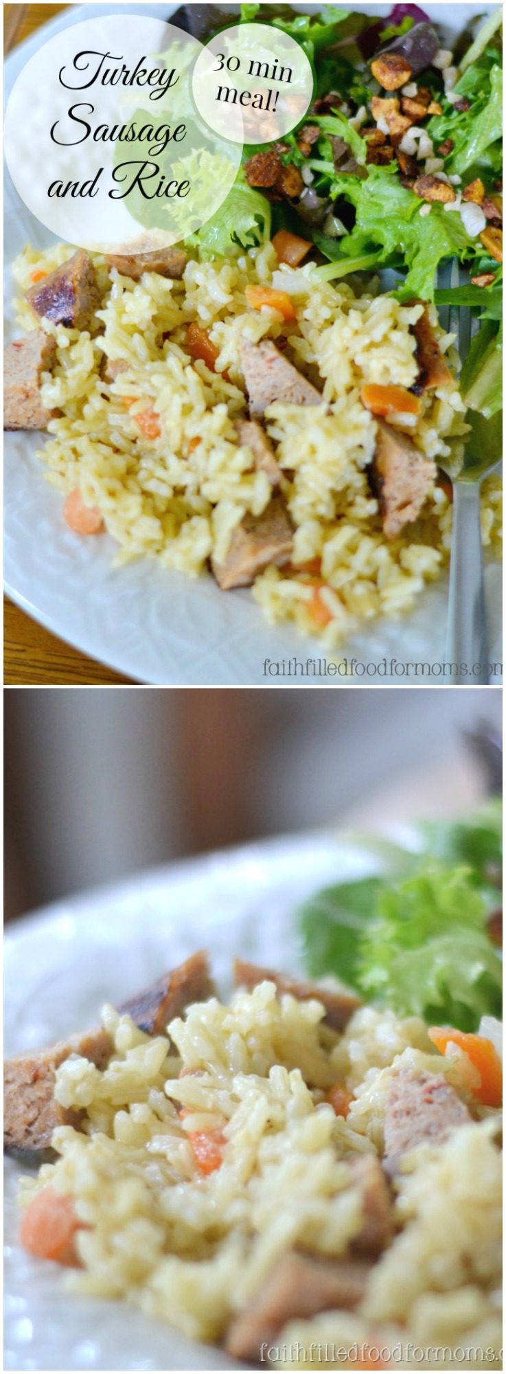 This Delicious Turkey Sausage and Rice will become one of your new healthy skillet dinner recipes!  Super easy with simple ingredients! #turkey #recipes #dinner #dinnerrecipes