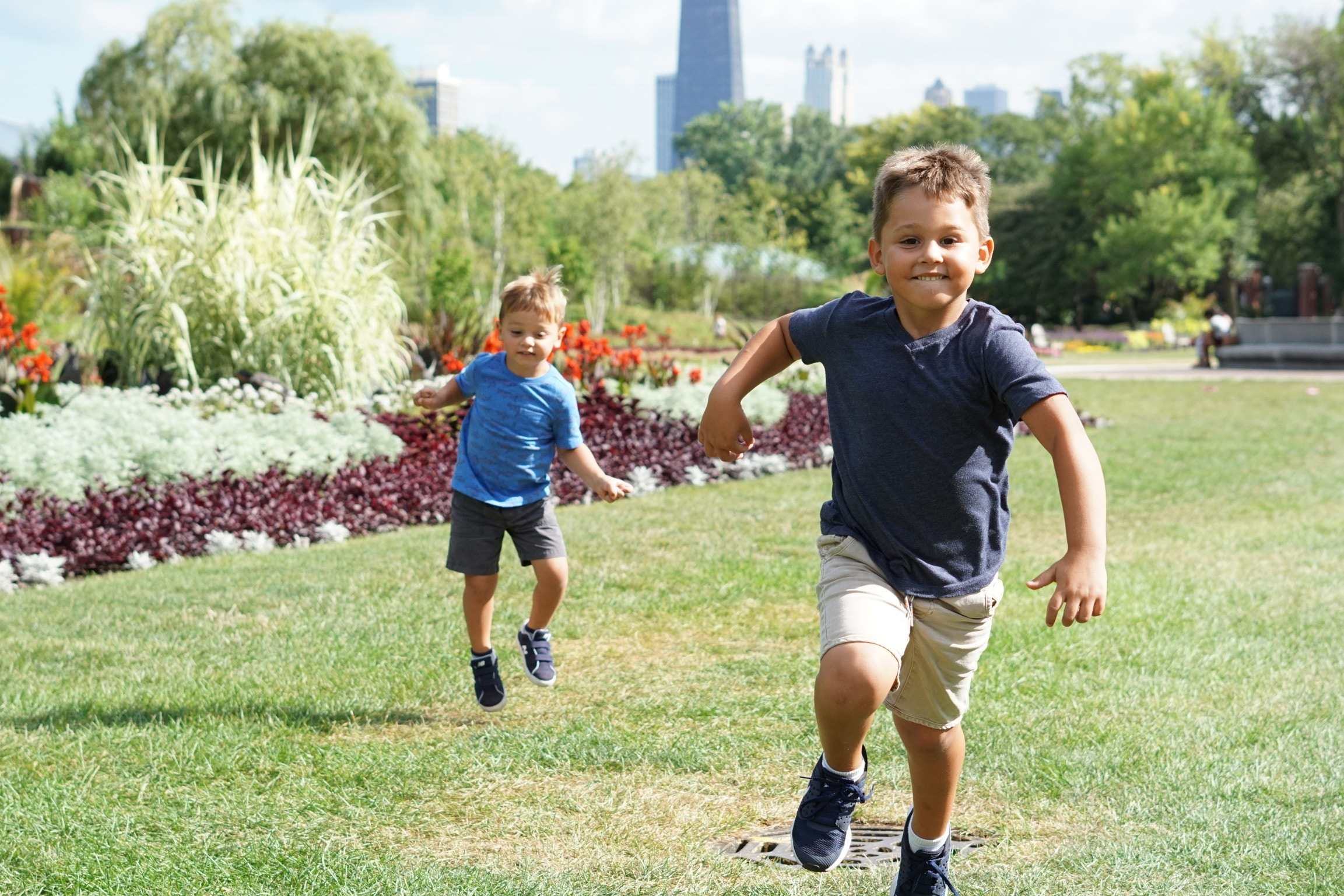 Fitness for family ~ 2 boys playing tag