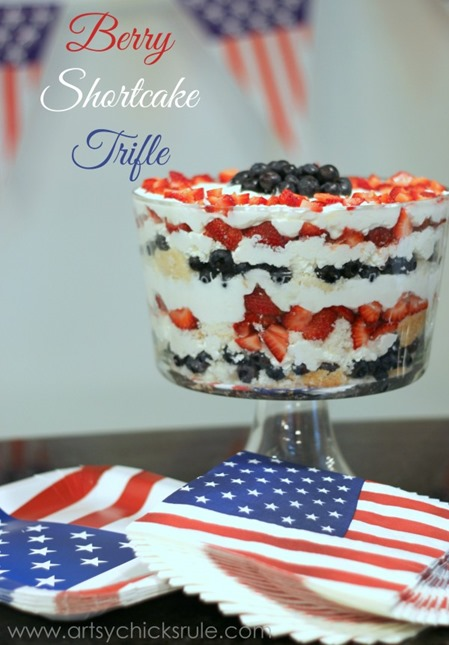 red white and blue berry trifle dessert
