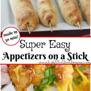 Super easy appetizers on a stick 30 min or less! Can be made ahead of time too! Great for that Homegating party on Game Day!